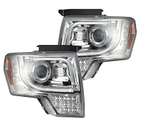2013-2014 F150 & Raptor Recon Clear Projector Headlights w/ Amber LED Turn Signal (OEM Projectors Only)