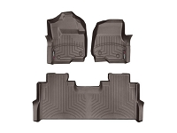 2017-2019 F250 & F350 SuperCrew WeatherTech Front & Rear Floor Liner (Cocoa)