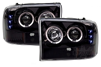 1999-2004 F250 & F350 Super Duty Recon Smoked Projector Headlights w LED Halos & DRLs