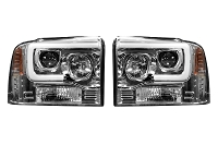 2005-2007 F250 & F350 Recon Projector Headlights w/ OLED Halos (Clear/Chrome)
