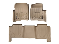 2004-2008 F150 Crew Cab WeatherTech Front & Rear Floor Mats Digital Fit (Tan)