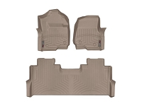 2017-2019 F250 & F350 WeatherTech Front & Rear Floor Liner (Tan)