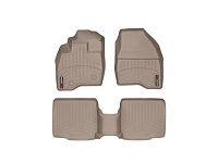 2011-2015 Explorer WeatherTech Front & Rear FloorLiners - Tan (Bucket Seats w/ Center Console)
