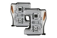 17-19 F250 & F350 Spyder OEM Replacement Sequential Turn Signal Chrome Headlights