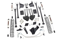 15-16 F250 6.7L 4WD Rough Country 6in 4-Link Lift Kit W/ V2 Monotube Shocks (With Factory Rear Overload Springs)