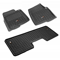 2009-2014 F150 & Raptor SuperCrew Rugged Ridge Front & Rear Floor Mats (Black)