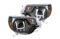 2012-2015 Tacoma LED DRL ANZO U-Bar Projector Headlights (Black)