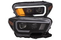 2016-2020 Tacoma Halogen DRL ANZO Plank Style Projector Headlights (Black Housings)