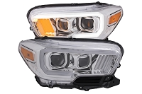 2016-2020 Tacoma Halogen DRL ANZO Plank Style Projector Headlights (Chrome Housings)