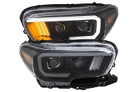 2016-2020 Tacoma LED DRL ANZO Plank Style Projector Headlights (Black Housings)