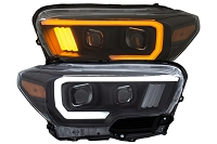 2016-2020 Tacoma ANZO Plank Style Switchback Projector Headlights (Black Housings)