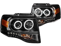 2007-2013 Expedition ANZO Black Projector CCFL Halo Headlights