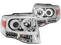 2007-2013 Expedition ANZO Chrome Projector CCFL Halo Headlights