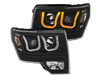 2009-2014 F150 ANZO Switchback U-Bar Projector Headlights (Black)