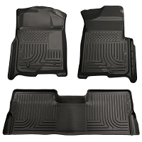 2008-2010 F250 & F350 SuperCab Husky WeatherBeater Front & Rear Floor Mats (Black)
