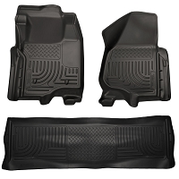 2008-2010 F250 & F350 Crew Cab Husky WeatherBeater Front & Rear Floor Mats (Black)