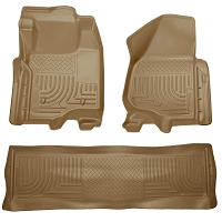 2011-2012 F250 & F350 Crew Cab Husky WeatherBeater Front & Rear Floor Mats (Tan)