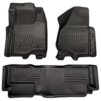 2011-2012 F250 & F350 SuperCab Husky WeatherBeater Front & Rear Floor Mats (Black)
