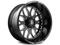 1999-2019 F250 & F350 Fuel Forged FF19 22x12 Wheel - Black & Milled - Smooth Lip w/ Logo