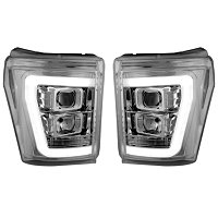 2011-2016 F250 & F350 Recon Projector Headlights w/ OLED Halos (Clear/Chrome)