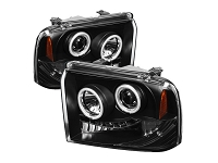 2005-2007 F250 & F350 Super Duty Spyder CCFL Projector Headlights (Black)