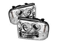 2005-2007 F250 & F350 Super Duty Spyder CCFL Projector Headlights (Chrome)