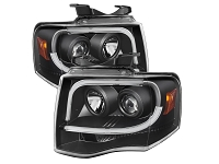 2007-2013 Expedition Spyder Auto Black Projector DRL Tube Headlights