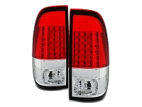 1999-2007 F250 & F350 Spyder Styleside LED Tail Lights (Red/Clear)