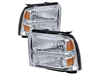 2005-2007 F250 & F350 Spyder OE-Style LED Strip Headlights (Chrome)