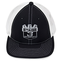 Stage 3 Motorsports Curved-Billed Black & White Mesh Hat
