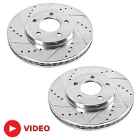 2005-2010 Mustang GT Power Stop Drilled & Slotted Front Rotors (Will Fit 11-14 V6)