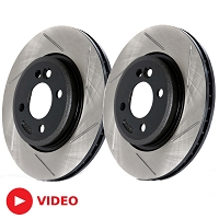 2013-2014 Mustang GT500 StopTech High-Carbon Slotted Front Rotors