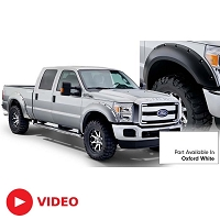 2011-2016 F250 & F350 Super Duty Bushwacker Pocket Style Fender Flares (Pre-Painted Oxford White)
