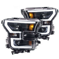 15-17 F150 ANZO Black LED Outline Headlights