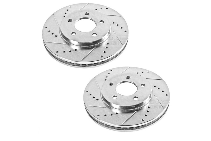05-10 Mustang GT Power Stop Drilled/Slotted Front Rotors (Fits 11-14 V6)