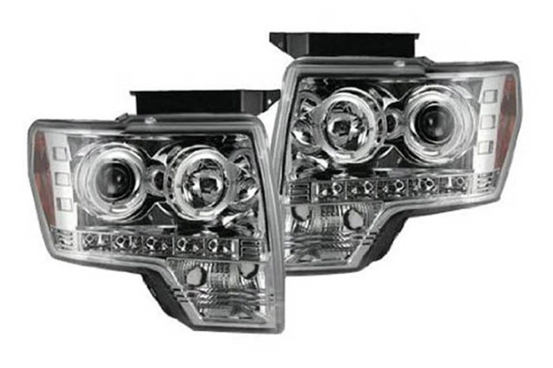 09-14 F150 & Raptor Recon Chrome Halo Projector Headlights