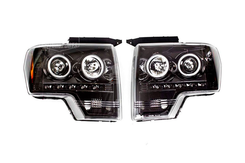 09-14 F150 & Raptor Recon Smoked CCFL Halo Projector Headlights