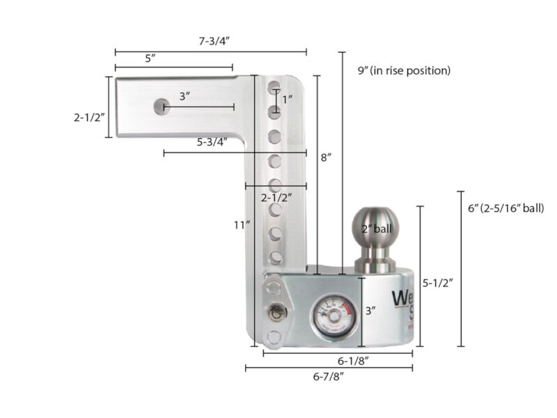 Weigh Safe 8 Inch Drop Hitch W Built In Scale 25 Shaft Ws8 Trailer Coupler Diagram Tap To Expand