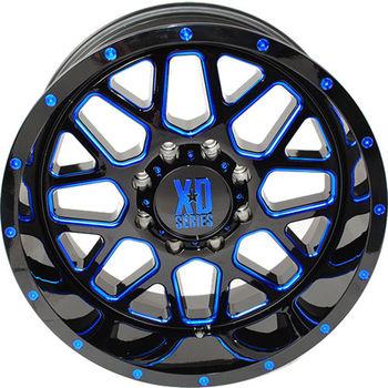 "2004-2019 F150 XD 820 20x9"" Satin Black Milled w/ Blue ..."