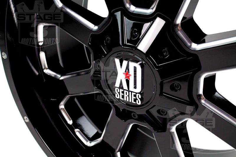 "2004-2019 F150 XD 825 20x10"" Gloss Black Milled Buck 25 Wheel (-24mm Offset)"