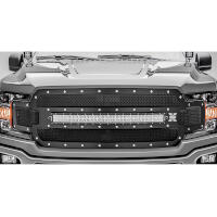 2018-2020 F150 T-Rex X-Metal Formed Torch Series LED Light Bar Upper Grille (Black with Chrome Studs)