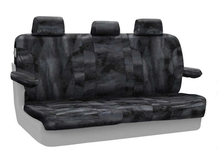 2015-2020 F150 CoverKing Ballistic A-TACS Law Enforcement Camo Rear Seat Covers (Black)