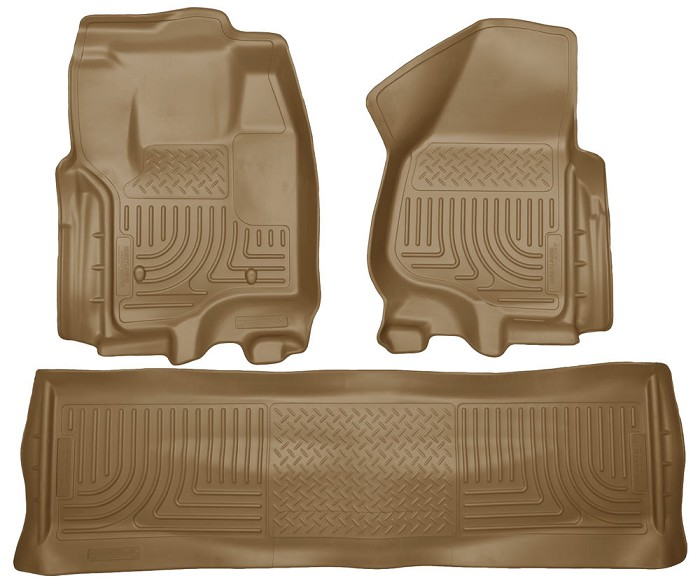 2012-2016 F250 & F350 Crew Cab Husky WeatherBeater Front & Rear Floor Mats (Tan)