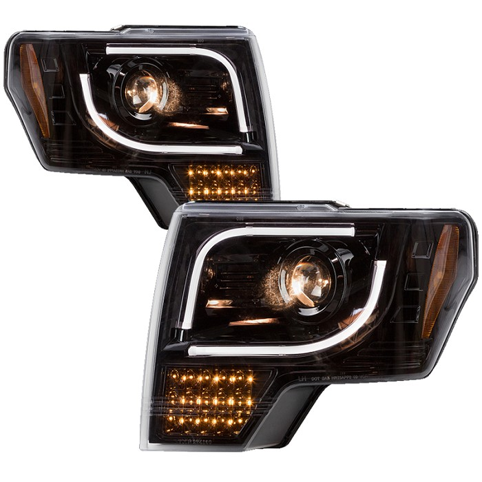 2013-2014 F150 & Raptor Recon Smoked Projector Headlights w/ Amber LED Turn Signals (OEM Projectors Only)