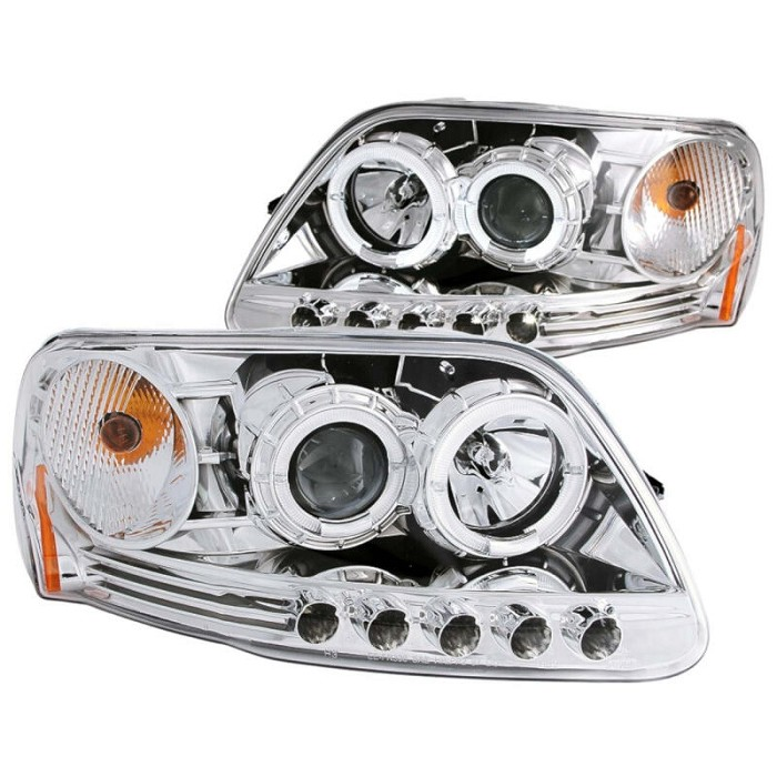 1997-2003 F150 ANZO Projector Headlights Halo LED (Chrome, Clear)