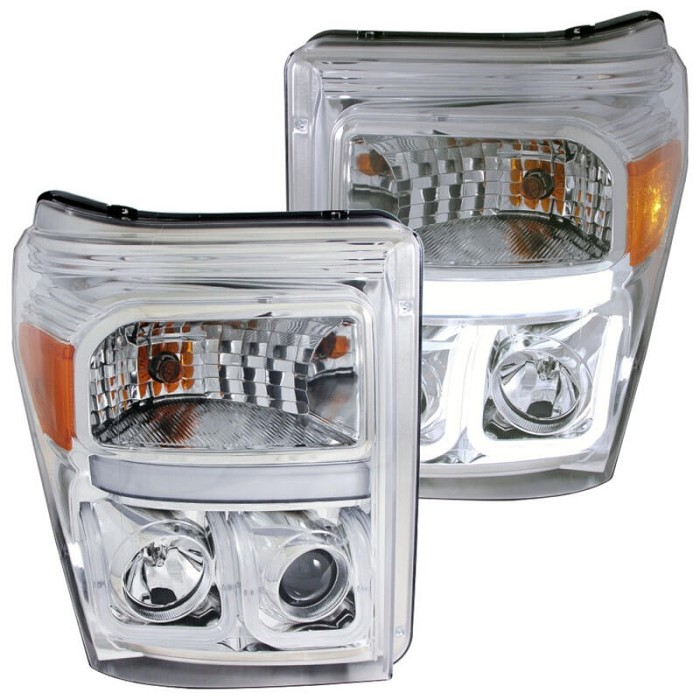 2011-2016 F250 & F350 ANZO U-Bar Projector Headlights (Chrome/Clear)