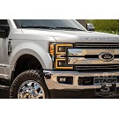 2017-2019 F250 & F350 ANZO LED Switchback Outline Projector Headlights (Black Housings) 11