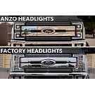2017-2019 F250 & F350 ANZO LED Switchback Outline Projector Headlights (Black Housings) 19