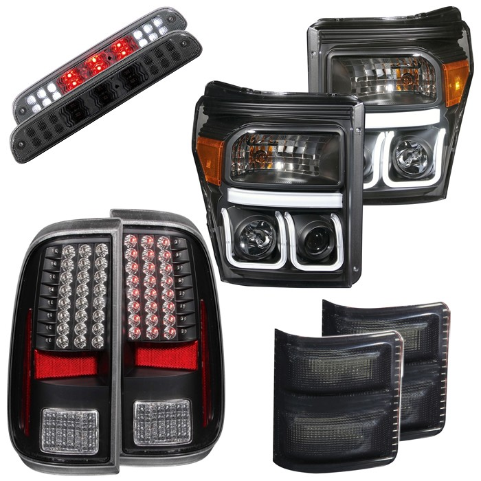 2011-2016 F250 & F350 Anzo Black/Smoked LED Lighting Package
