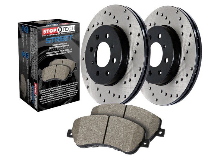 2005-2010 F250 & F350 4WD StopTech Street Axle-Pack Front Drilled Brake Kit